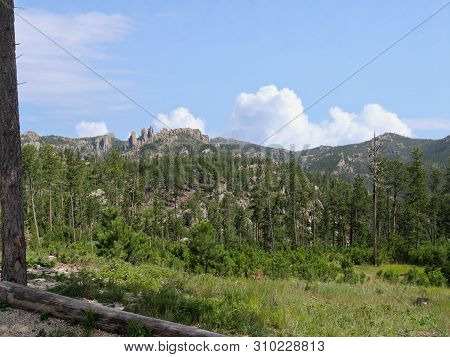 Dramatic Landscape With Winding Roads Along Needles Highway At Custer State Park, South Dakota.
