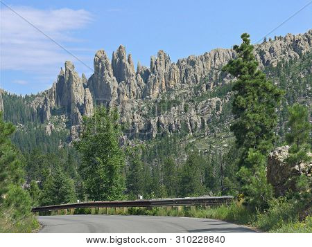 Scenic Drive With Stunning View Of Rock Formations Along Needles Highway At Custer State Park, South