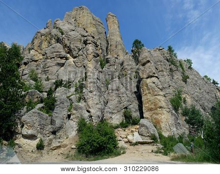 Cathedral Spires Trailhead, Along The Road At Needles Highway In Custer State Park, South Dakota.