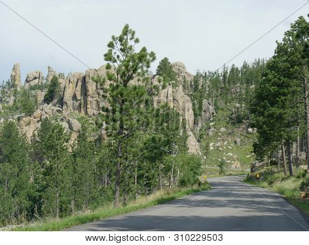Winding Road With Dramatic Granite Formations At Needles Highway In South Dakota.