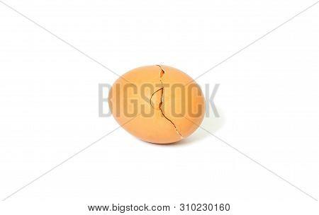broken eggshell isolated on white background, broken egg and empty eggshell isolated on white background poster