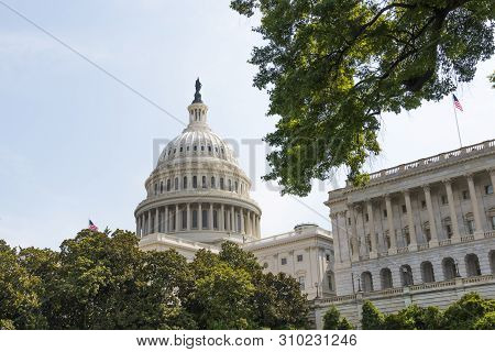 Western Facing View Of The U.s. Capitol Building, Home Of Congress, And Located Atop Capitol Hill At