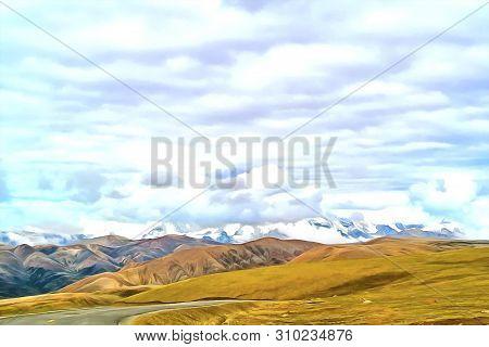 Watercolor Mountain Landscape. Digital Painting - Illustration. Mountain Landscape. Alpine Landscape