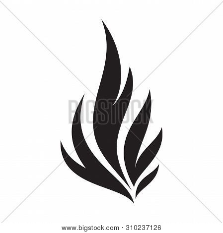 Simple Fire Flames Silhouette For Element Design. Hot Inferno Flame Shape On The White Background. V