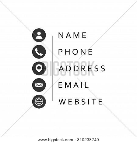 Business Card Information Icon Set Template Vector