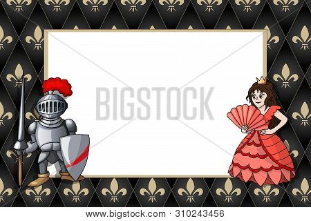 Horizontal Frame With Knight With Lance And Princess On The Medieval Background