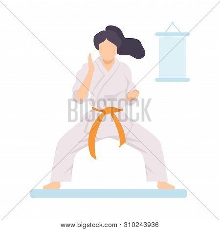 Girl In White Kimono With Orange Belt Doing Karate Vector Illustration
