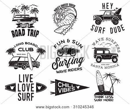 Vintage Surfing Graphics Logos Set For Web Design Or Print. Surfer Badges Templates. Surf Emblems. S