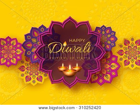 Diwali Festival Holiday Design With Paper Cut Style Of Indian Rangoli And Diya - Oil Lamp. Purple Co