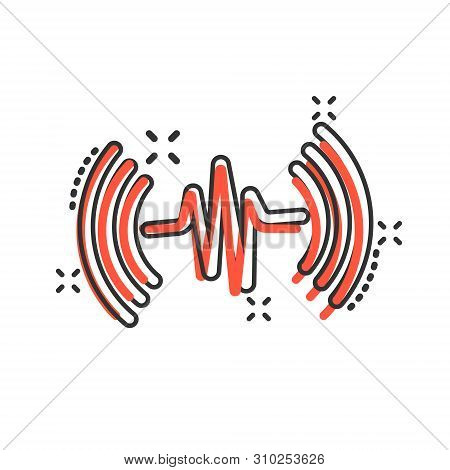 Sound Wave Icon In Comic Style. Heart Beat Vector Cartoon Illustration On White Isolated Background.