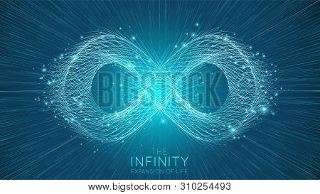 Infinity Expansion Of Life. Vector Infinity Sign Explosion Background. Small Particles Strive Out Of