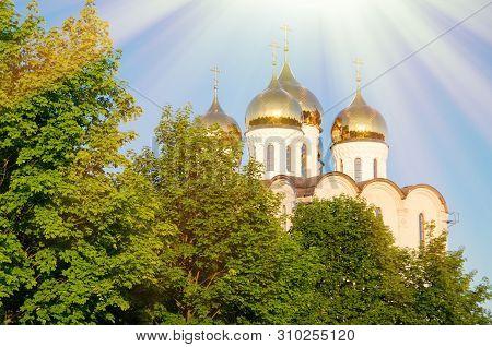 A Christian Church With Bright Sun Light