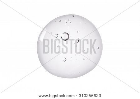 Serum Texture. Clear Liquid Gel With Bubbles Swatch Isolated On White Background.