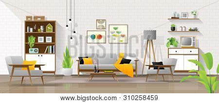 Interior Background With Living Room In Mid Century Modern Style , Vector , Illustration