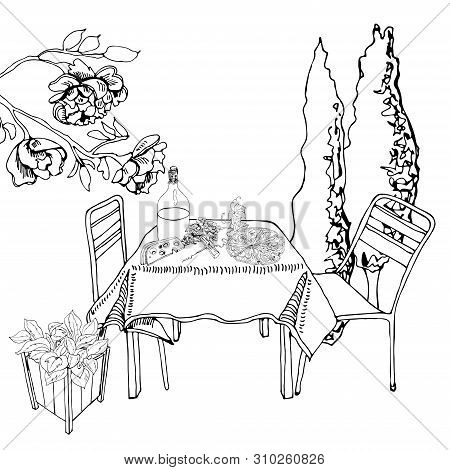 Monochrome Scene With Outdoor Lunch. Hand Drawn Ink Cutout Elements. Food, Container Plants And Furn
