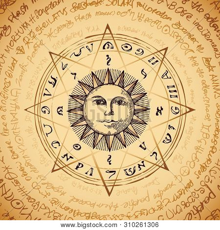 Illustration Of The Sun In An Octagonal Star With Magical Inscriptions And Symbols On The Beige Back