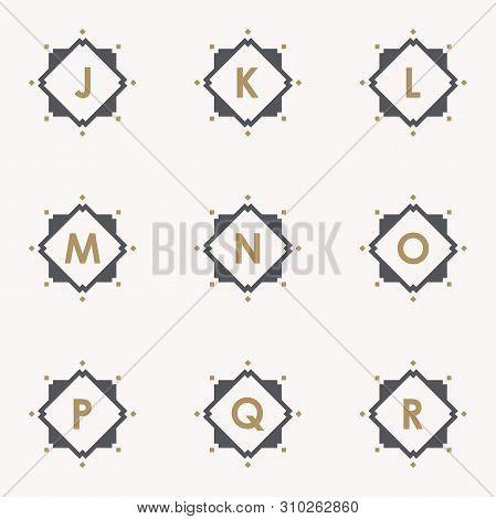 Simple And Elegance Set Letter Emblem J K L M N O P Q R Symbol Inside Abstract Square On The Pink Ba