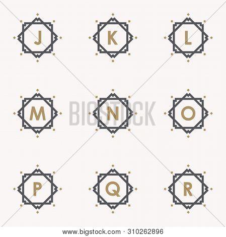 Simple And Elegance Set Letter Emblem J K L M N O P Q R Symbol Inside Abstract Square. Set Simple Em