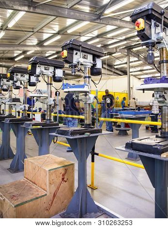 Johannesburg, South Africa, 9th February - 2015: Metal Drilling Machines In A Technical Training Fac