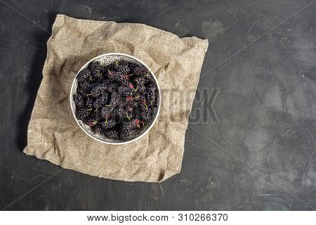 Fresh Raw Black Mulberries In Plate On Dark Concrete Background. Top View With Copy Space. Flat Lay