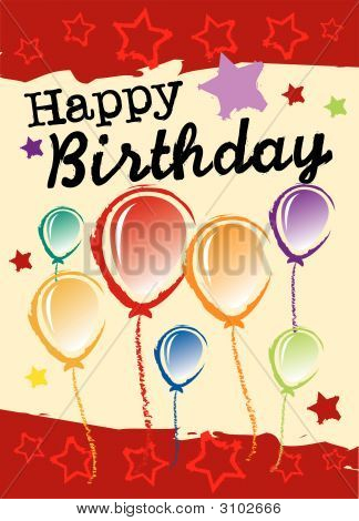 Birthday greeting card with balloons and stars poster