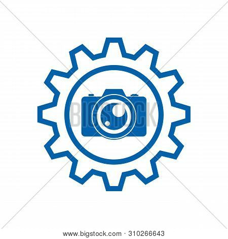 Setting Photo Camera Icon On White Background, Photo Camera And Gear Service Icon Vector Design, Pho