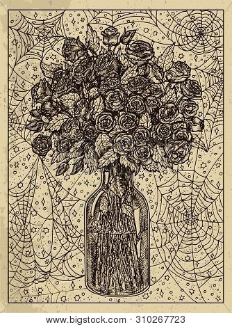 Bouquet. Mystic Concept For Lenormand Oracle Tarot Card. Vector Engraved Illustration. Fantasy Line