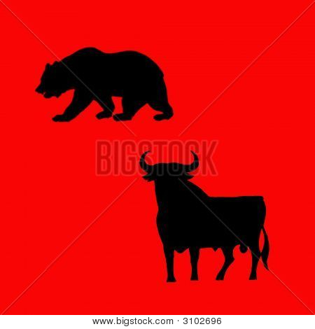 Bear And Bull Illustration