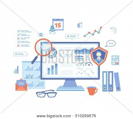 Auditing, Analysis, Accounting, Calculation, Analytics. Auditor Checks The Documents. Graphs, Charts