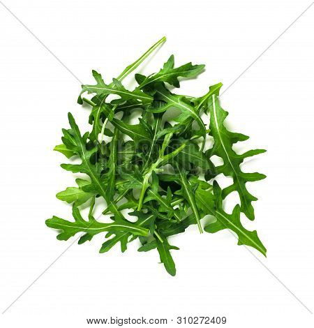 Heap Of Arugula Leaves. Fresh Green Arugula Or Rucola Leaves Isolated On White With Clipping Path. T