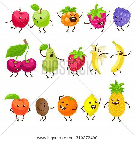 Funny Fruits With Faces Set. Cartoon Characters Vector Illustration With Cute Healthy Juicy Fruits.