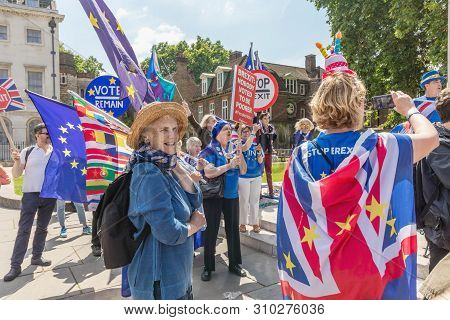 London / Uk - June 26th 2019 - Pro-eu Anti-brexit Protesters Holding European Union Flags And Stop B