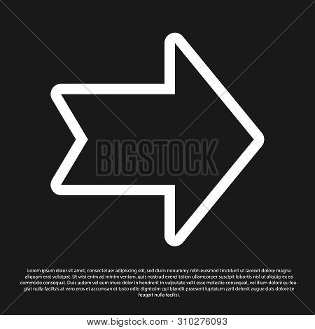 Black Arrow icon isolated on black background. Direction Arrowhead symbol. Navigation pointer sign. Vector Illustration poster