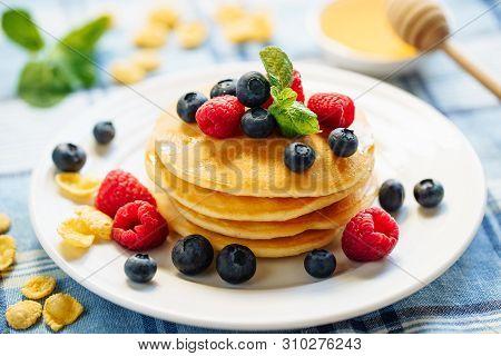 Pancake Blueberry Fried Dessert Stack Breakfast. Golden Sweet Crepe With Raspberry For Tasty Shrovet