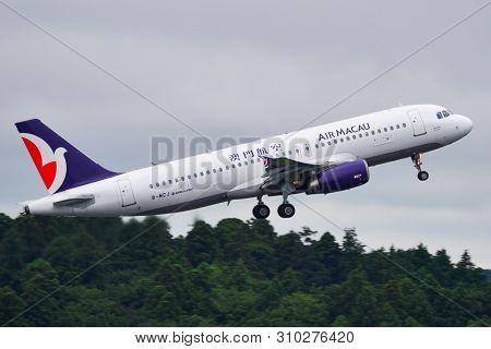 Tokyo, Japan - Jul 4, 2019. B-mcj Air Macau Airbus A320 Taking Off From Narita Airport (nrt). Narita