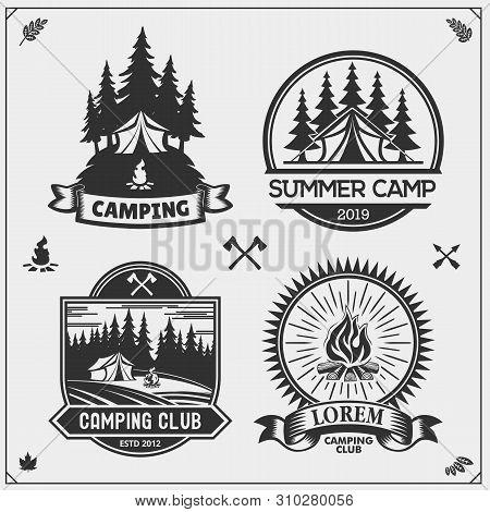Camping Club Emblems, Badges And Design Elements. Retro Set Of Forest Camping, Outdoor Adventure And