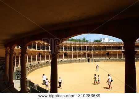 Ronda, Spain - May 5, 2008 - View From The Seating Area Inside The Famous Bullring Built In 1785 And