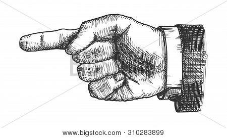 Male Hand Pointer Finger Showing Gesture Vector. Businessman Index Finger Arrow Suggesting Direction