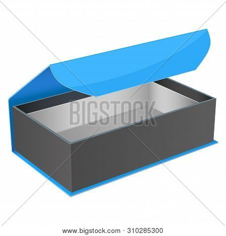 Blue And Black Gift Box. Open Jewelry Box With Magnetic Clasp. Vector Illustration Isolated On White