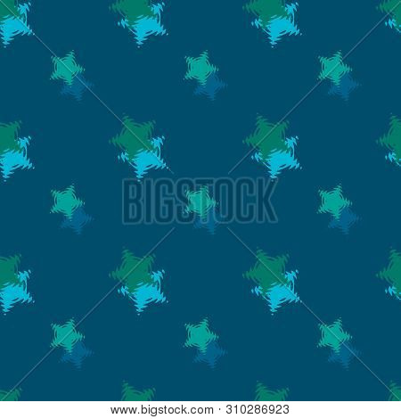 Seamless Background Pattern With Colored Diverse Stars.