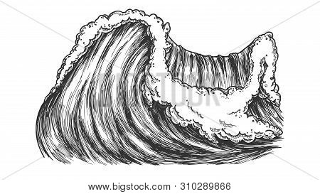 Breaking Pacific Ocean Marine Wave Storm Vector. Enormous Huge Water Wave With Foam Good Place For E
