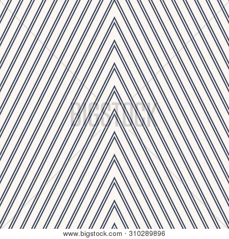 Zigzag Seamless Pattern. Vector Texture With Thin Zig Zag Lines, Stripes, Streaks, Chevron. Navy Blu
