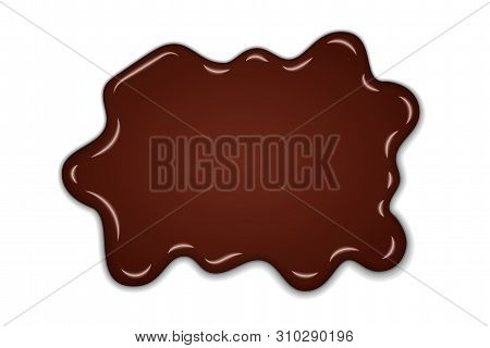 Chocolate Sweet Splash. Chocolate Liquid Blot Isolated White Background. Abstract Shape Dessert Spot