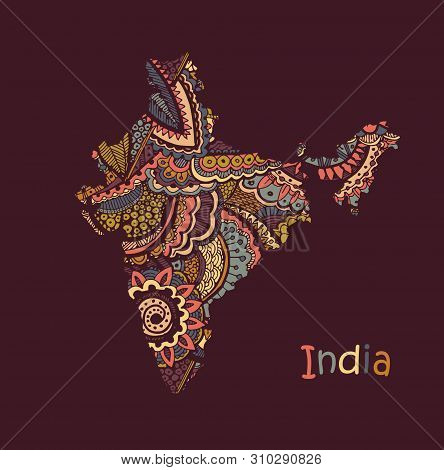 Textured Vector Map Of India. Hand Drawn Ethno Pattern, Tribal Background.