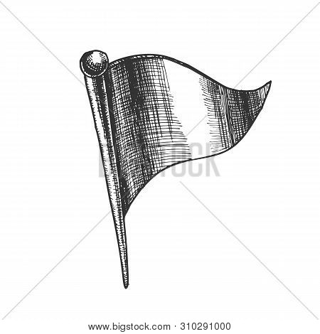 Stationery Pushpin In Triangle Flag Form Vector Closeup. Prick Pushpin For Mark Place On Map. Needle
