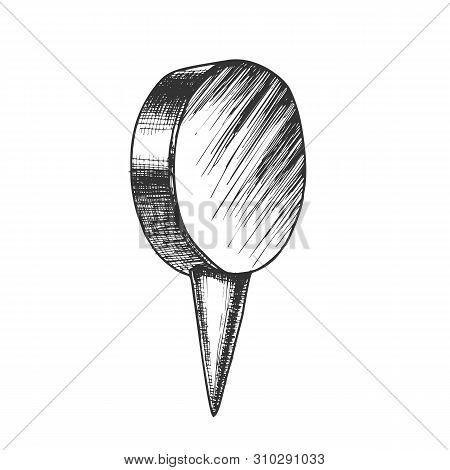 Stationery Thumbtack With Circle Flat Top Vector. Thumbtack Office Element Attach And Fixation Paper