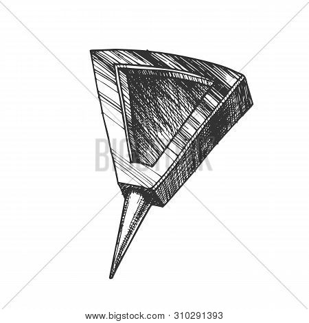 Stationery Pushpin With Triangle Form Top Vector. Modern Paperclip Pushpin Appliance For Fixation Or