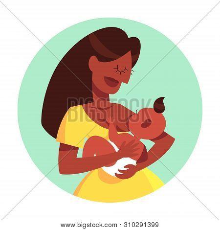 Mother Breastfeeding Her Newborn Baby. Idea Of Child Care
