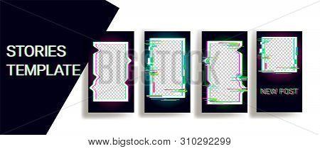 Design backgrounds for social media banner.Set of instagram stories frame templates.Vector cover. Mock up for personal blog or shop.Layout for promotion.