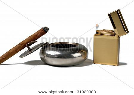 Cigar And Gold Lighter.